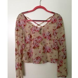 Sheer floral long sleeve blouse