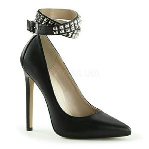 Shoes - BLACK PUMPS WITH STUDDED ANKLE STRAP