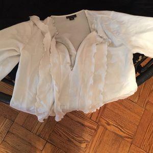 Cream color zipper Blouse