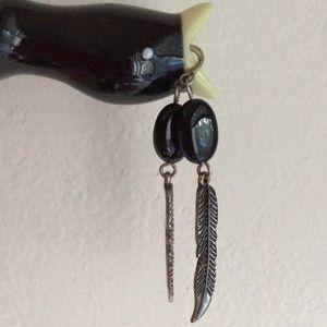 Black Onyx  Metal Feather  Earnings