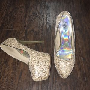 Paprika Shoes - Gold sparkly heels