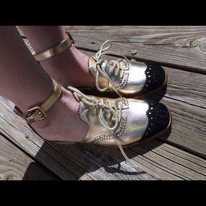 d2eb0c33e3ee CHANEL Shoes - Chanel gold black velvet tipped runway sandals