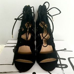 Dolce Vita Lace up Caged Black Sandals