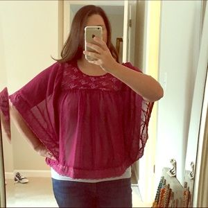 Prevett Tops - Poncho Style Raspberry Colored Blouse