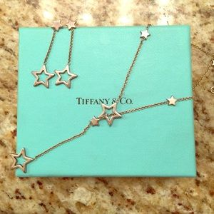 Authentic Tiffany Star Lariat Necklace and earring