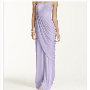 David's Bridal Long Strapless Mesh Dress NWT