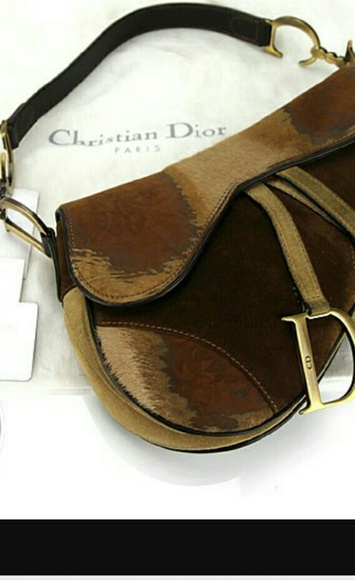 cfc1f8db4f271 Christian Dior suede and pony hair saddle bag