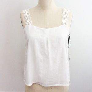 Atid Clothing Tops - White On white Pin Stripe & eyelet Crochet blouse