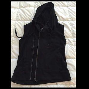 Converse Vest with Hood Asymmetrical Zipper Small