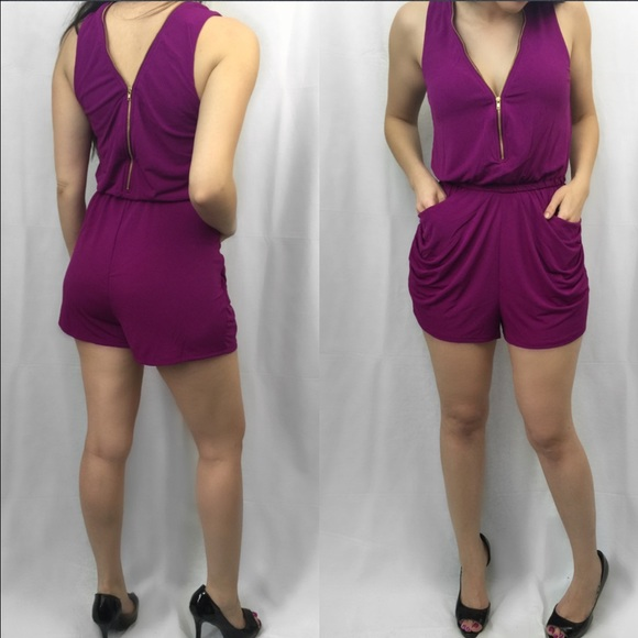 ValMarie Boutique Pants - ❗️LAST 1-SMALL-PURPLE FUCHSIA ZIPPER RUCHED ROMPER