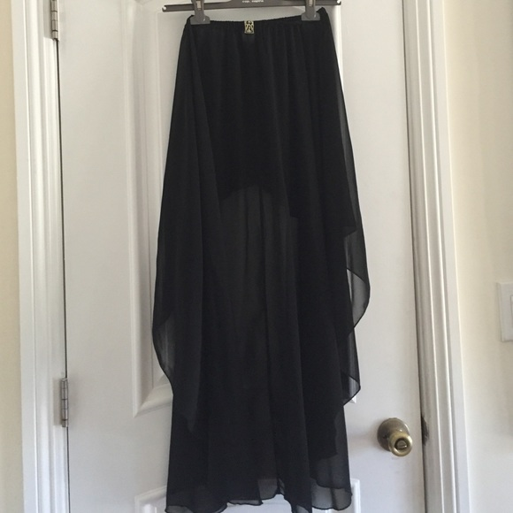 80 lf dresses skirts black chiffon high low skirt
