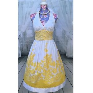 Dresses & Skirts - Yellow & White Floral Halter Midi Dress