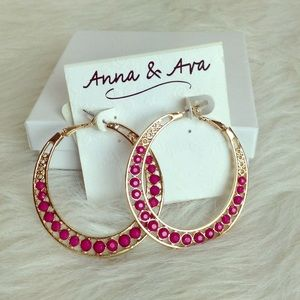 🆕LISTING Anna & Ava Gold Hoops with Pink Beads