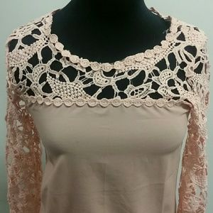 Tops - *Blush Pink Lace Top*