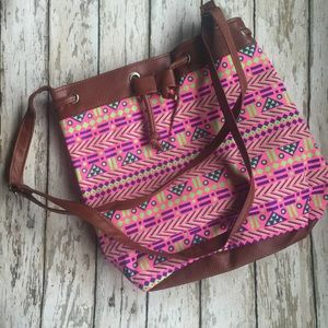 TRIBAL BOHO BEACH BAG WITH INNER POCKET 2 straps