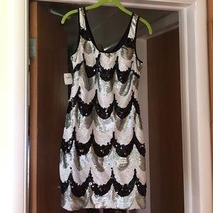Black, silver and white sequin Fredericks dress