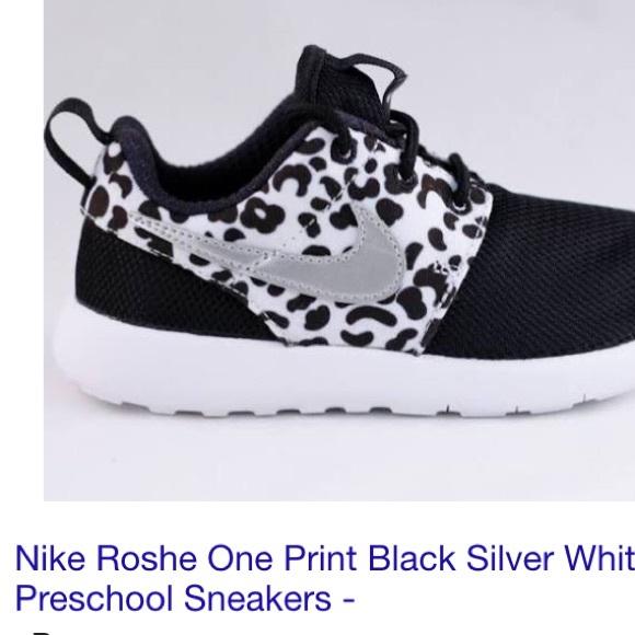 low priced 1eeca a90c2 Nike Roshe One Print Black and Silver, Preschool