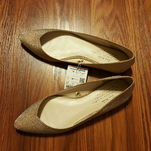 Zara Gold Glitter Ballet Flats