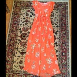 Womens orange floral summer dress