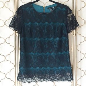 XXI Black & Teal Lace Top