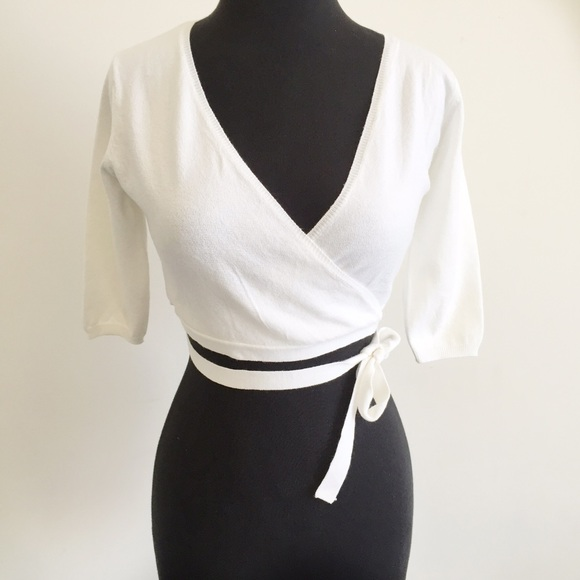 64% off ESPRIT Sweaters - new | Esprit White Ballet Cropped Wrap ...