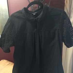 See-Thru Lace Sleeve With Collar Black Blouse