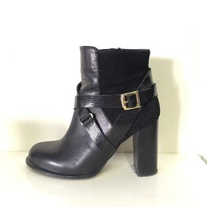 Topshop black suede leather booties