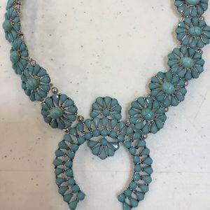 Squash Blossom Faux Turquoise Necklace