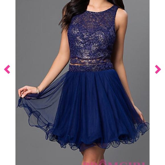 As U Wish Dresses Two Piece Navy Blue Gold Short Dress