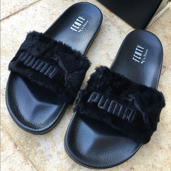 puma sold rihanna fenty fur puma slides sz 10 5 black. Black Bedroom Furniture Sets. Home Design Ideas