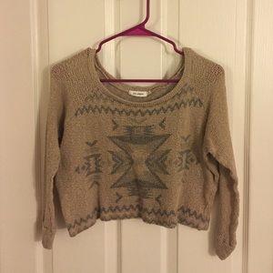 Blu Pepper - Crop Knitted Tribal Sweater