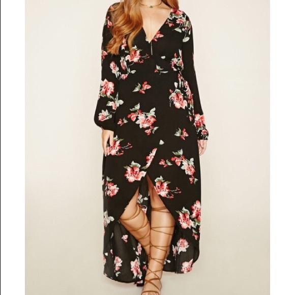 Forever 21 Dresses | Floral Highlow Maxi Dress Plus Size | Poshmark