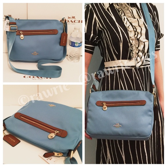 CLEARANCE New Coach blue fabric zip top Crossbody cea16052ba030