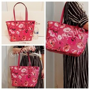 New Coach pink wildflower floral city zip tote