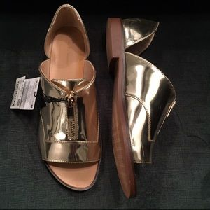 Zara Shoes - ❤️sold❤️ Zara gold metallic open toe loafers