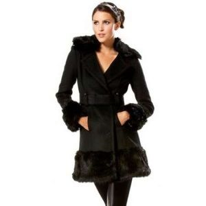 Belted Faux Fur-Trimmed Wool Coat