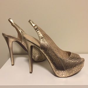 b053e606718 BCBGeneration Shoes - BCBG Gold Laser-Cut Platform Slingbacks