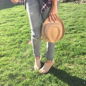Suede peep toe sandal