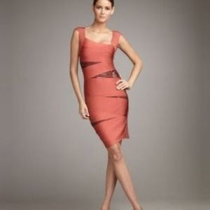 Herve Leger Dresses & Skirts - Herve Leger Bright Flame Bandage Slash Sequin