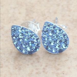 Sterling Silver Blue Crystal 925 Teardrop Earrings