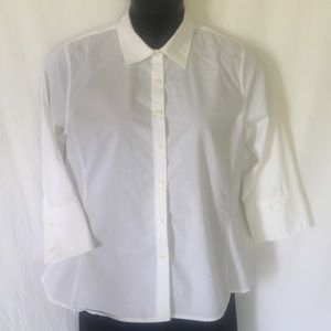 Merona white button front 3/4 sleeve fitted blouse