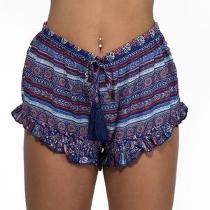 Blue Boho Printed Ruffle Shorts
