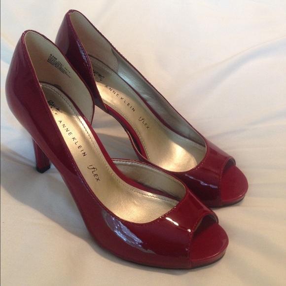 48cf90670aa Anne Klein Shoes - Anne Klein burgundy patent peep toe heels size 6.5