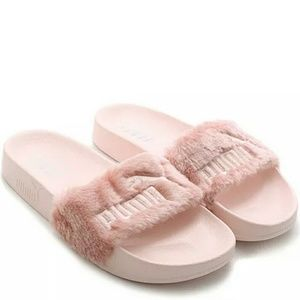 Puma Shoes - *SOLD* Rihanna Fenty Puma Fur Slide Sandals (Pink)