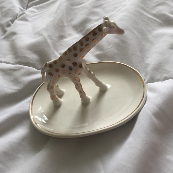 Accessories - UO white and gold giraffe jewelry tray