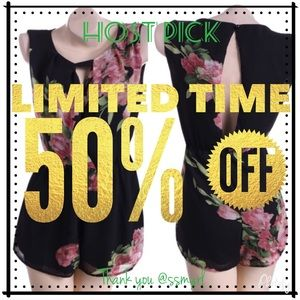 Dresses & Skirts - 🔥Black Romper With Flowers