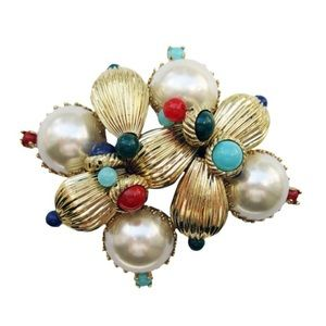 SCAASI huge faux pearl and cabachon pin