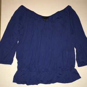 Banana Republic blue gathered waist 3/4 sleeve top