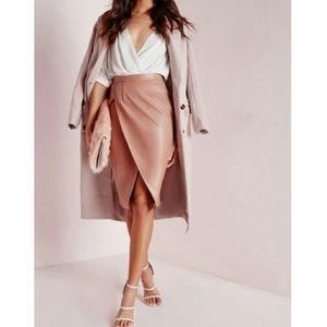  Pink Petal Vegan Leather Wrap Midi Skirt