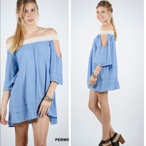 •periwinkle shoulder dress•